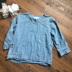 Lucky brand denim floral embroidered top M